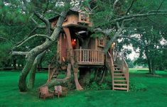 Classy treehouse + tiny wooden chairs