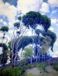 Guy Rose (American Impressionism, Laguna Eucalyptus, Irvine Museum, Irvine, CA Landscape Art, Landscape Paintings, Rose Paintings, Impressionist Landscape, American Impressionism, Kunst Online, Tree Art, Artist Art, American Artists