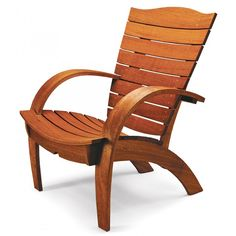 This Adirondack chair plan includes bent lamination for creating the sweeping arms, the seat, and back slats.