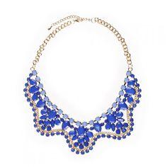 Collana coletto con pietre blu pervinca e azzurro cielo #neck #collar #jewelry