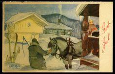 Julekort DAVIDSEN, TRYGVE. Kortmotiv merket Hemsedal med mann og hest Utg Oppi  postg. 1949