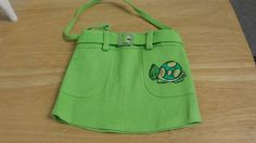 Lime Green Skirt Purse Turtle/ Grasshopper Applique $9.99