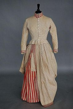 An unusual printed cotton Independence day dress, circa 1876