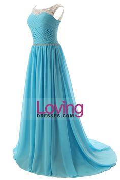 2015 Colher Prom A Linha corpete plissado chiffon com Beads