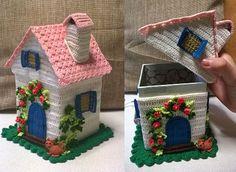 Scatola porta caramelle / cioccolatini / oggetti a forma di casetta, realizzata interamente all'uncinetto