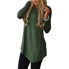 69f4e5fc Female Irregular Blouses Tunic Shirt Autumn Winter Women Long Sleeve Shirts  Loose Botton Solid Blusas Top Plus Size GV980