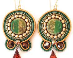 Soutache Earring, Green and Gold Soutache Earring, Embroidered Earring, Soutache Embroidery Earring