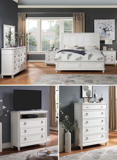 The Augusta Panel Bedroom Set is a great choice with its sleek design complemented by geometry-focused details. A beautiful white wood finish displays a versatile nature that allows this set to blend with various room styles. The Augusta Bedroom Set is available in King and Queen sizes, and it can be purchased online or in-store at Great American Home Store in Memphis, TN, and Southaven, MS. #shopgahs #bedroom #bed #dresserandmirror #nightstand #queenset #kingset