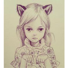 Girl cat illustration