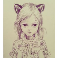 Girl cat illustration