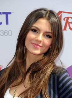 Color and middle part.  Victoria Justice.