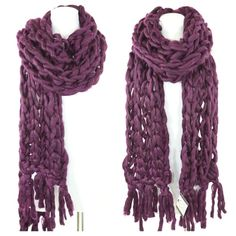 "Handmade Aubergine Heavy Knit Sweater Yarn Scarf ‼️PRICE FIRM‼️   Handmade Cable Knit Scarf  Retail $140  BEYOND SPECTACULAR!  Make a true fashion statement with this absolutely gorgeous and ridiculously soft handmade scarf.  Beautiful deep rich aubergine.  This is a very thick & chunky scarf.  100% acrylic. Please check my closet for many more  items.  86"" long  11"" wide Boutique Accessories Scarves & Wraps"