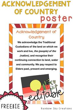 Acknowledgement of Country Poster - Indigenous Australia Aboriginal Art For Kids, Aboriginal Education, Indigenous Education, Aboriginal History, Aboriginal Culture, Aboriginal People, Indigenous Art, School Displays, Classroom Displays