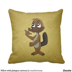 Pillow with platypus cartoon