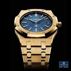 #TiempoPeyrelongue  Actualmente, para conmemorar el 40.º aniversario de los primeros Royal Oak fabricados en metales preciosos, Audemars Piguet ha creado una serie de versiones Extraplanas en oro amarillo. #watchoftheday / #watchmania / #reloj / #dailywatch / #watchfam / #watchnerd / #horology / #watchgeek / #watchaddict / #luxury / #watchcollector / #timepiece / #SIHH
