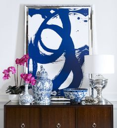 It's all in the Mix….k...Contemporary Cobalt with Classic Chinoiserie.  Art:  Loops at Ethan Allen.