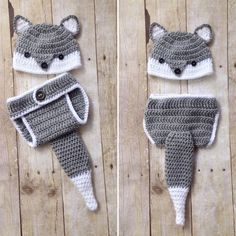 Fox Newborn Photography Prop; Wolf Newborn Outfit; Fox Baby Hat and Crochet Diaper Cover by CominUnraveled