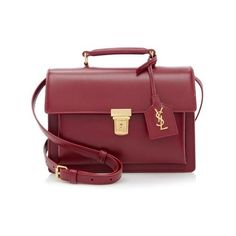 Rental Saint Laurent Calfskin High School Medium Satchel ($200) ❤ liked on Polyvore featuring bags, handbags, red, red cross body purse, burgundy handbag, crossbody purse, crossbody flap purse and structured handbag