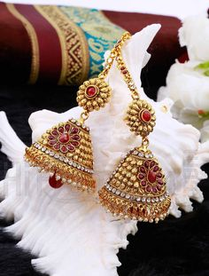 Bridal Wear Jhumkas with Red Stones