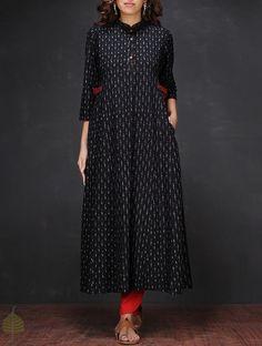 Buy Black White Ikat Mandarin Collar Handloom Cotton Kurta Women Kurtas Online at Jaypore.com