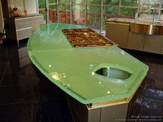 Countertops, Green Glass Kitchen Countertop: Best Peaceful Application Of Green Countertops Modern Countertops, Green Countertops, Kitchen Countertops, Glass Kitchen, Kitchen And Bath, Kitchen Modern, Kitchen Dining, Dining Room, Beautiful Kitchens