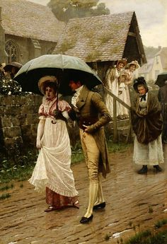A Wet Sunday Morning by Edward Blair Leighton, 1896 ~ Reminds me of Pride and Prejudice. :)
