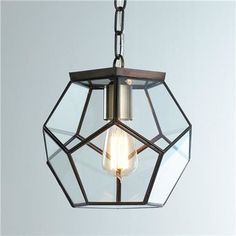 Clear Glass Prism Pentagon Pendant Light - contemporary - pendant lighting - Shades of Light