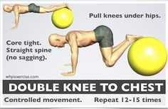 Basically a Swiss Ball plank variation with feet on the ball not arms. Can start as a hold and progress to bringing knees into chest. Can use a chair or stool on wheels if you don't have a Swiss Ball. Low Back Strengthening Exercises, Stability Ball Exercises, Back Exercises, Stool, Chair, Strength Training, Back Pain, Plank, Core