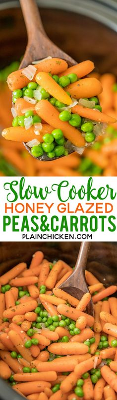 Slow Cooker Honey Glazed Peas and Carrots - easy and delicious side dish! Baby carrots, honey, butter, garlic, onion, marjoram, and peas. Amazing flavor!! Great side dish for your holiday meal! #slowcooker #sidedish #vegetables