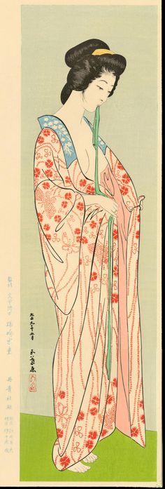 Beauty in Long Undergarment, by Goyō Hashiguchi「橋口 五葉 」