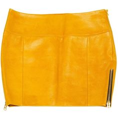 Pre-owned Heimstone Leather Mini Skirt ($188) ❤ liked on Polyvore featuring skirts, mini skirts, women clothing skirts, yellow, leather skirt, genuine leather skirt, mini skirt, leather mini skirt and zipper mini skirt