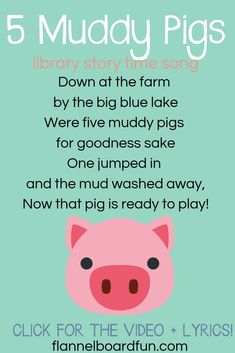 Three Muddy Pigs Felt Board Song for preschool circle time and library story time