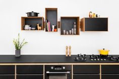 Wood Kitchen with Box Shelving