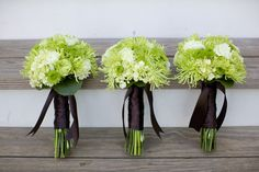 Bright green maids bouquets were created with green spider mums, green cabbage roses, green button mums, green hydrangea, and green carnations.