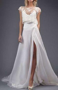 Tendencias de boda 2017: Vestidos de novia de dos piezas [FOTOS] - Vestido de novia dos piezas tipo lencero