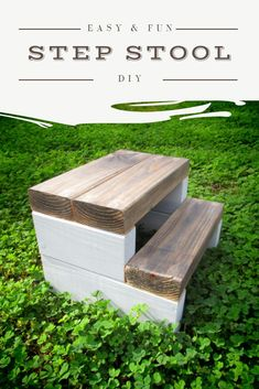 Made from one 2 x Get the instructions here. diy step by step DIY Step Stool Scrap Wood Projects, Easy Woodworking Projects, Easy Diy Projects, Furniture Projects, Woodworking Plans, Beginner Wood Projects, Easy Small Wood Projects, Outdoor Wood Projects, Diy Furniture Easy