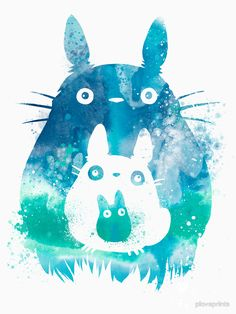 This is a fan art I made for Studio Ghibli's animation My Neighbor Totoro. This print features characters Totoro and the Mini Totoro. This open edition print will be professionally printed on archival Art Manga, Art Anime, Anime Kunst, Manga Anime, Art Studio Ghibli, Anime Kawaii, Chibi, Watercolor Splatter, Watercolor Art