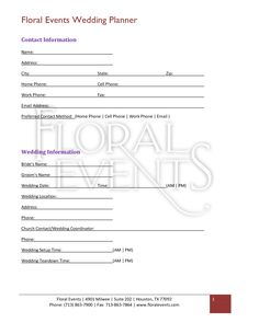 Floral shop bridal agreement contract template editable for Florist wedding contract template