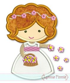 Embroidery Designs - Flower Girl Cutie Applique 4x4 5x7 6x10 SVG - Welcome to Lynnie Pinnie.com! Instant download and free applique machine embroidery designs in PES, HUS, JEF, DST, EXP, VIP, XXX AND ART formats.