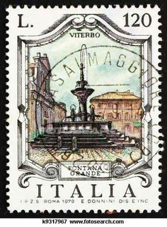 Postage stamp Italy 1979 Great Fountain,in Viterbo Postage Stamp Design, Retro Poster, Stamp Printing, Thinking Day, Vintage Stamps, Vintage Travel Posters, Mail Art, Stamp Collecting, Printable