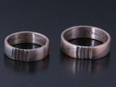 Rings by Bielak  Poland  mokume gane: palladium / pink gold  satin pattern
