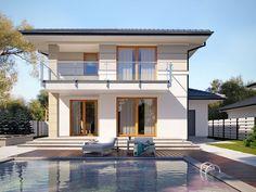 mediterranean homes exterior modern House Layout Plans, Duplex House Plans, House Layouts, Modern Family House, Modern House Design, Mediterranean Homes Exterior, Tuscan House, Storey Homes, Architect House