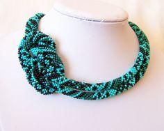 Beaded Crochet Rope Necklace  Beadwork  Elegant  by lutita on Etsy, $85.00