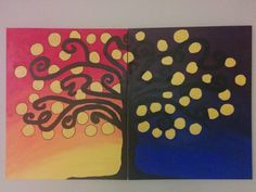 Night&Day - Acrylic on 2 canvases #Arttherapy