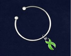 Large Lime Green Ribbon Charm Open Bangle Bracelets. These bracelets are approximately 8 inches. Packaged 18 bracelets per pack. Product Code: B-49C01-9
