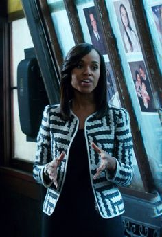 """Armani Collezioni"" Crew Neck Jacket in Geometric Jacquard Black and White worn by Olivia Pope (Kerry Washington) on Scandal, season 4."
