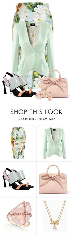 """""""Big Floral Print"""" by freida-adams ❤ liked on Polyvore featuring H&M, Mansur Gavriel, Kate Spade and Pasquale Bruni"""
