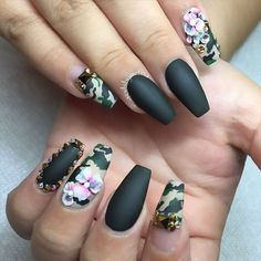 Camo Nails With Rhinestones and Flower Accents