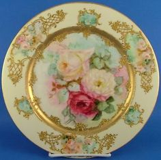 Antique Limoges France Hand Painted Rose Gilt Plate