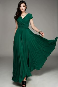 Elegant Surplice V Neckline Maxi Chiffon Dress - OASAP.com
